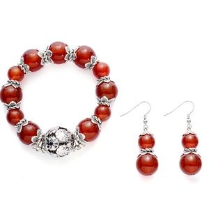 Red Agate Bracelet and Earring Set